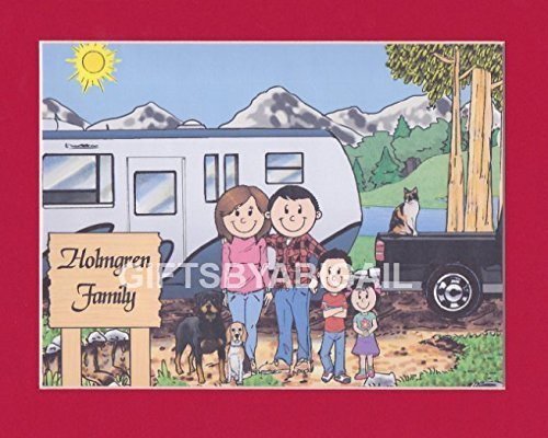 Pull Trailer Camping Family Gift Personalized Custom Cartoon Print 8x10, 9x12 Magnet or Keychain by giftsbyabigail