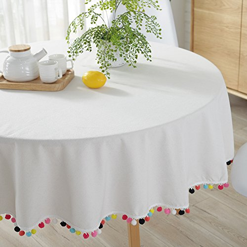 ColorBird Pompom Tassel Tablecloth Cotton Linen Dust-Proof Table Cover for Kitchen Dinning Tabletop Decoration (Round, 60 Inch, Cream) ()