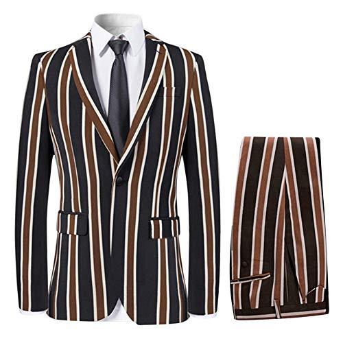 YFFUSHI Men's Colored Striped 3 Piece Suit Slim Fit Tuxedo Blazer Jacket Pants Vest Set, Coffee, Medium