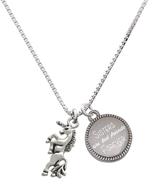 cousins with Gift Box and Pouch Unicorn with touching message sisters friends family Pearl /& Diamond Necklaces Gift for siblings