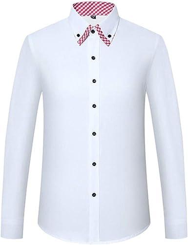 Camisas de Vestir para Hombres Camisa Informal Suelta de Manga Larga, Solapa con Botones completos, Bolsillo a Rayas, Color Liso, Oficina de Negocios, Ocio Diario: Amazon.es: Ropa y accesorios