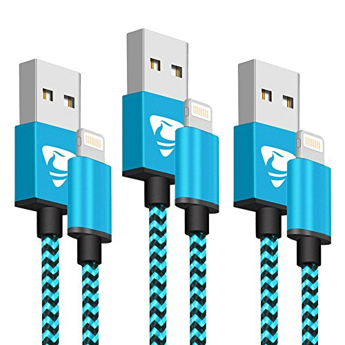 iPhone Charger Cable,MFi Certified Aioneus iPhone Charger Lightning Cable 3pack 6FT Nylon Braided Fast iPhone Charging Cord for Phone 11pro 11 Xs Max X XR 8 7 6s 6 Plus 5s SE, iPad Mini/Air-Blue ...