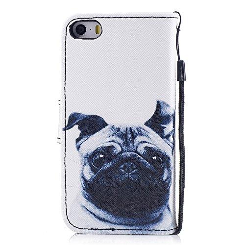 Funda iPhone SE / 5S, Alfort 3 en 1 Carcasa iPhone 5 Cascara de Piel Pintada Cover la Cubierta del Cuero Moda Case con Soporte Plegable y Ranura de Tarjeta ( Líneas ) Bulldog