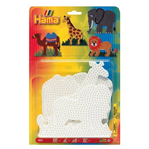 (Hama Beads Elephant, Giraffe, Lion & Camel Pegboard Set)