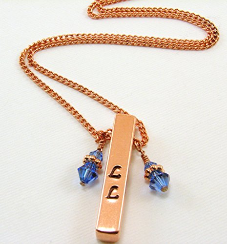 Swarovski Copper Pendant - Pure Copper Bar Pendant with Swarovski Crystals - Can be personalized with initials or short word and your choice of crystal colors