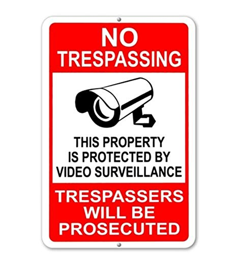 1-Pc Good Popular No Trespassing This Property Is Protected By Video Surveillance Trespassers Will Be Prosecuted Yard Signs Anti-Robber Anti-Thief Size 7