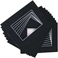10 of 18x24 Black Pre-cut Acid-free whitecore mat for 12x18 + back+bag