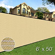 Sunnyglade 6' x 50' Privacy Screen Fence Heavy Duty Fencing Mesh Shade Net Cover for Wall Garden Yard Backyard (Sand)