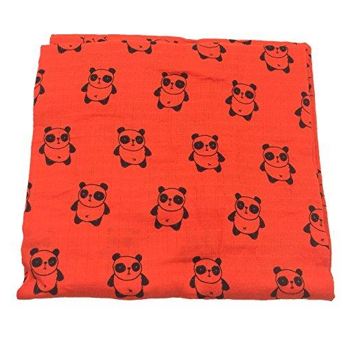 Bambino Land Muslin Swaddle Blanket - (Orange Panda) Made from Organic Cotton