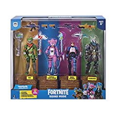 Squad up and drop in! The Fortnite Squad mode 4-Figure Pack brings Fortnite squads to life. Each 4-Figure Pack is full of epic and legendary outfits and much more! Each figure comes with a weapon and their harvesting tool.