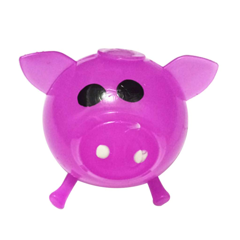 Pet1997 Decompression Puzzle Plaything, 1Pcs Jello Venting Pig Dolls, Cute Anti Stress Splat Water Pig Ball, Vent Toy Venting Sticky - Blue, Orange, Pink, Green, Purple (Purple)
