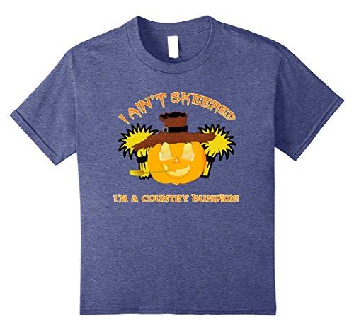 Kids I Ain't Skeered - Country Bumpkin Pumpkin Halloween T Shirt 10 Heather Blue