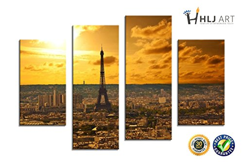 HLJ ART Paris Canvas Print Wall Art Modern Giclee Prints Artwork Multi Sunshine Pictures Photo Paintings Print on Canvas Stretched and Framed, Ready to (Abstract Modern Fountain)