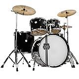MAPEX VR5295TDKZZ Voyager Rock 5-Piece Drum Set with Cymbals, Black