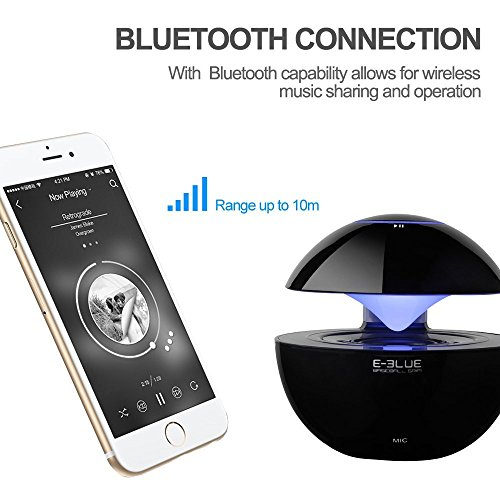 E-3LUE bluetooth speakers with Handsfree Speakerphone,LED lights Built-in Mic and 3.5mm Line-In ,Portable mini wireless speaker for Smartphones, Tablets, Computers, Laptops,Cell Phones,Black by E-3lue (Image #1)