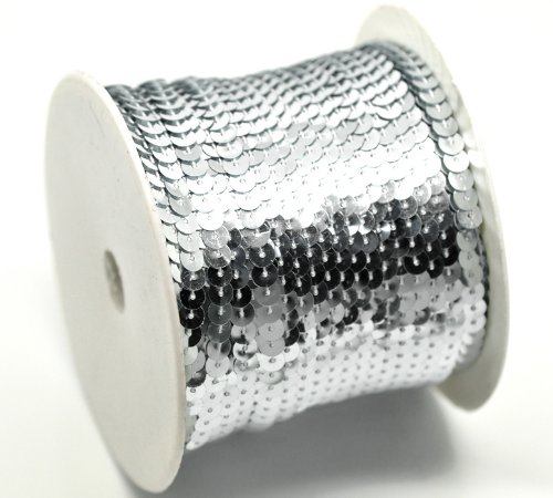 PEPPERLONELY Brand, 100 Yard Roll Silver Color Flat Bling Sequins Spool String 6mm(1/4) BCACS22574