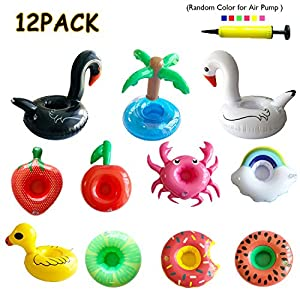 KSM UP Inflatable Drink Holders 12 Packs Crab Duck Palm Tree Donuts Rainbow Fruit Drink Floats Cup Holders Coasters for Pool Party Bath Toys with Mini Air Pump in Random Color