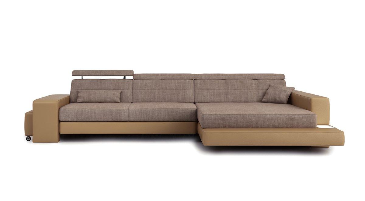 Eckcouch modern stoff  Sofa Couch Leder Wohnlandschaft + Stoff modern Ecksofa Eckcouch ...
