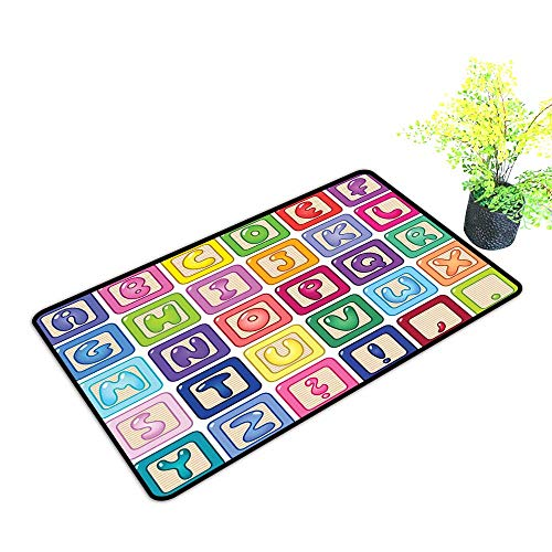 Zmstroy Interior Door mat Kids Activity Colorful English Alphabet Blocks Childrens Cartoon Balloon Letter Design W35 xL59 Easy to Clean Carpet Multicolor