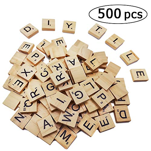 500PCS Scrabble Letters for Crafts,Wood Scrabble Tiles - DIY Wood Gift Decoration - A-Z Capital Letters for Crafts, Pendants, Spelling