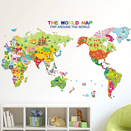 World Map Wall Stickers Wall Decal Nursery Room Family Art Classroom Learning Educational Peel Stick Removable Vinyl All World Countries Local Name English and Chinese Bilingual Living Room ()