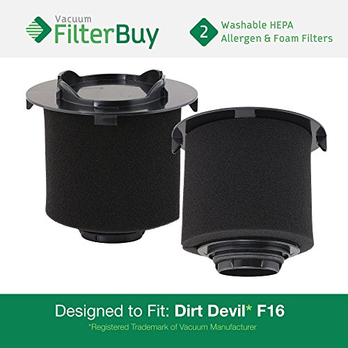 Dirt Devil F-16 Hepa Filter (2 - Dirt Devil F16 (F-16) Washable HEPA & Foam Replacement Filters, Part # 1-JW1100-000, 2-JW1000-000. Designed by FilterBuy to fit Dirt Devil Vision & EnVision Wide Glide Vacuums)