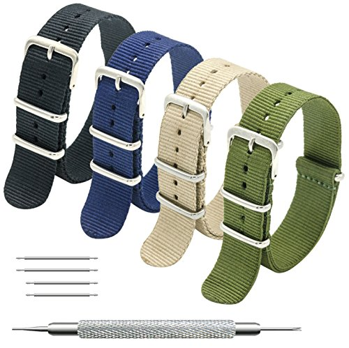 16mm Buckle - CIVO NATO Strap 4 Packs - 20mm 22mm Premium Ballistic Nylon Watch Bands Zulu Style with Stainless Steel Buckle (Black+Army Green+Navy Blue+Khaki, 16mm)