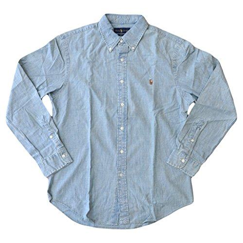 Denim Long Sleeve Polo Shirt - Polo Ralph Lauren Men's Slim Fit Pony Denim Chambray Shirt Denim XL
