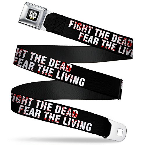 Buckle-Down Seatbelt Belt - The Walking Dead FEAR THE DEAD/FEAR THE LIVING Black/White/Red - 1.5