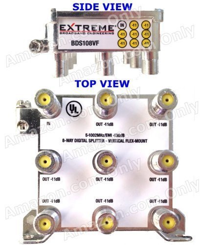 - EXTREME 8 WAY BALANCED HD DIGITAL 1GHz HIGH PERFORMANCE COAX CABLE SPLITTER - BDS108VF by Extreme