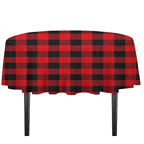 kangkaishi Plaid Washable Tablecloth Lumberjack Fashion Buffalo Style Checks Pattern Retro Style with Grid Composition Desktop Protection pad D55.11 Inch Scarlet -