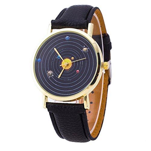 Vavna® Top New Unisex Student Solar System Print Quartz Women's Leather Wrist Watch - Yellow Gold by Vavna (Image #3)