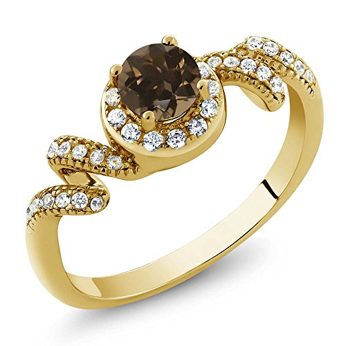 0.85 Ct Round Brown Smoky Quartz 18K Yellow Gold Plated Silver Twist Ring ()