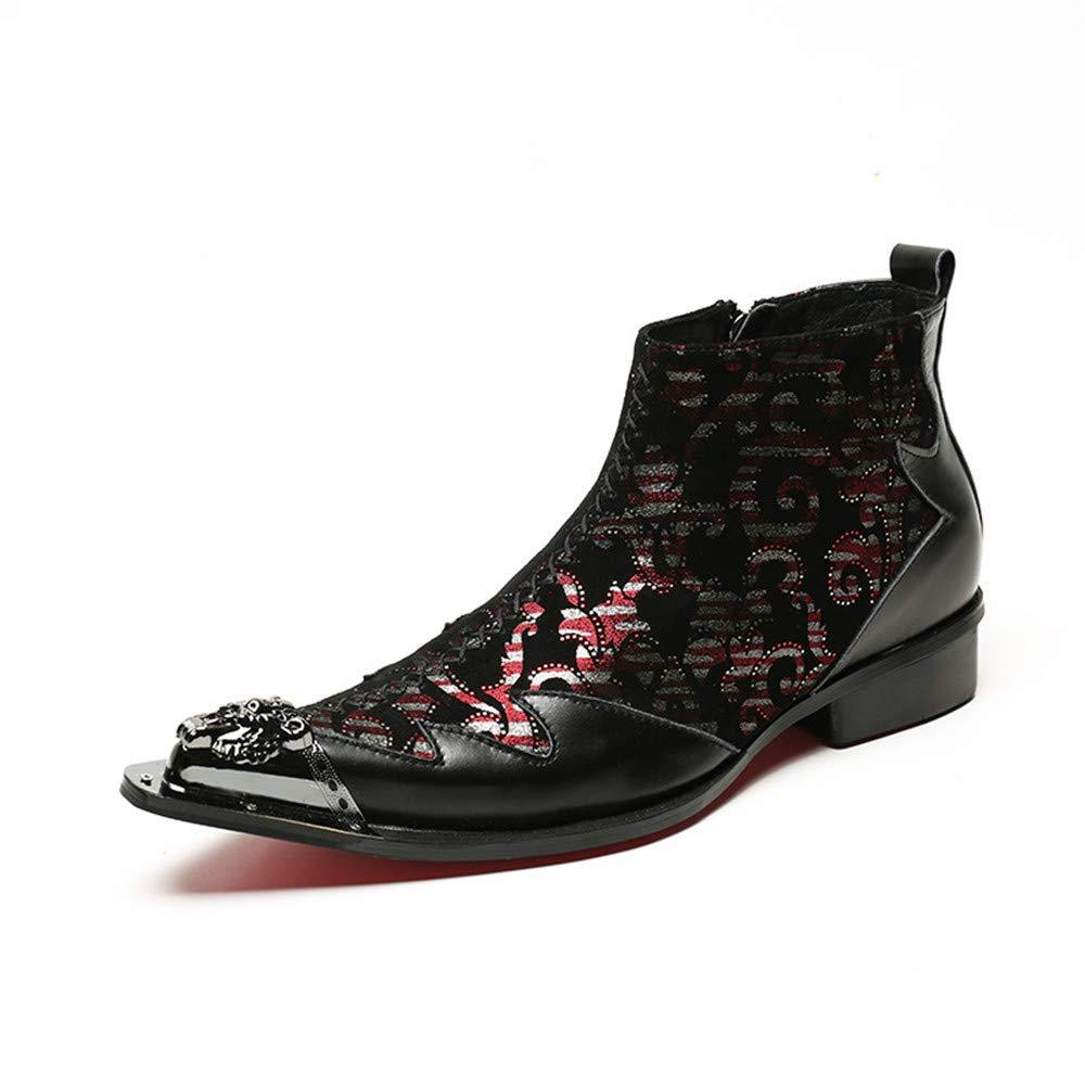 FLYSXP Spitzen Trend Mode Kurze Stiefel Kurze Stiefel Leder Mode Lässig Martin Stiefel Europa Und Die Vereinigten Staaten Männer Stiefel Flut Herren Lederstiefel (Farbe   SCHWARZ, größe   37)