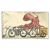 Octopus Bike Home Garden Flags Polyester Flag Indoor/Outdoor Wall Banners Decorative Flag Garden Flag 3x5 Foot