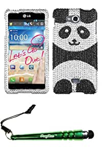 FoxyCase(TM) FREE stylus AND LG MS870 (Spirit 4G) Playful Panda Full Diamond Bling Phone Protector Cover cas couverture