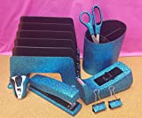 Blue Turquoise Office Supplies: Blue Turquoise Glitter Desk Stapler, Tape Dispenser, Scissors, 4 Binder Clips (32mm), Large Pencil Cup, Incline File Sorter, and Stapler Remover Set