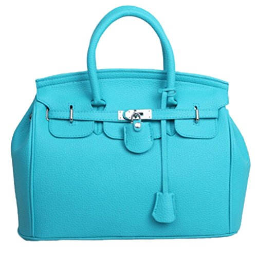 Price comparison product image LLguz Women Fresh Fashion Lichee Pattern Simple Larger Capacity Leather Women Shoulder bag Handbag (Light Blue)