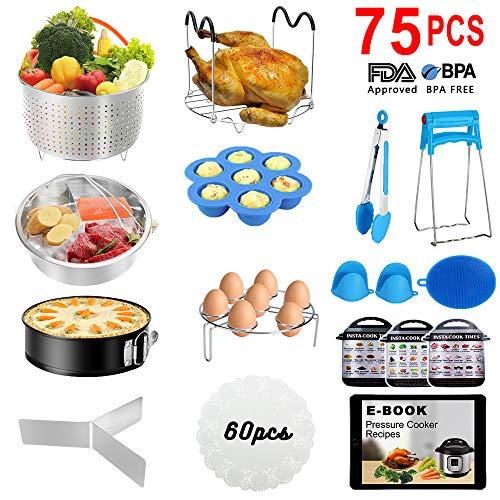 Instant Pot Accessories Set, 75 PCS Instant Pot Accessories Compatible with 5,6,8Qt - 60 Pcs Parchment Papers, 2 Steamer Baskets, Non-stick Springform Pan, Egg Rack, Egg Bites Mold, Kitchen Tong, Dish