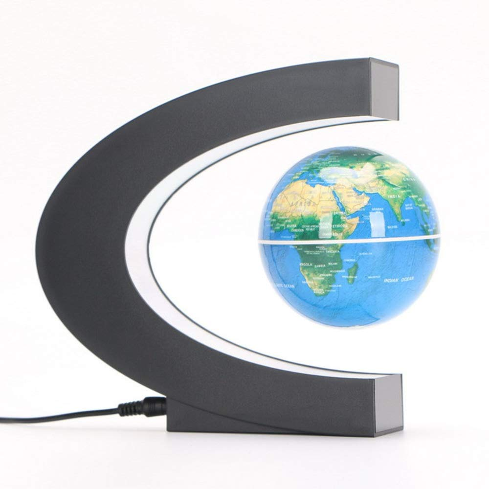 Quisilife World Globe Floating Globe with LED Lights C Shape Magnetic Levitating Rotating Globe World Map for Geography Education, Home Desk Decoration Educational and Fun for School Children Family by Quisilife