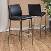 Christopher Knight Home 296616 Vasos Leather Barstool (Set of 2), Black