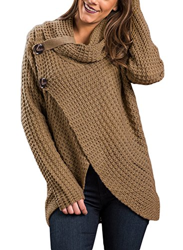 FIYOTE Women Casual Long Sleeve Turtleneck Solid Knit Pullover Sweater Large Size (Turtleneck Sweater Coat)