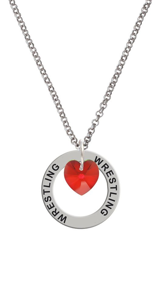 Red Crystal Heart - Wrestling Affirmation Ring Necklace by Delight Jewelry