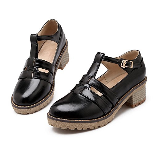 VogueZone009 Women's Soft Material Round Closed Toe Kitten-Heels Buckle Solid Pumps-Shoes Black w2SptUj