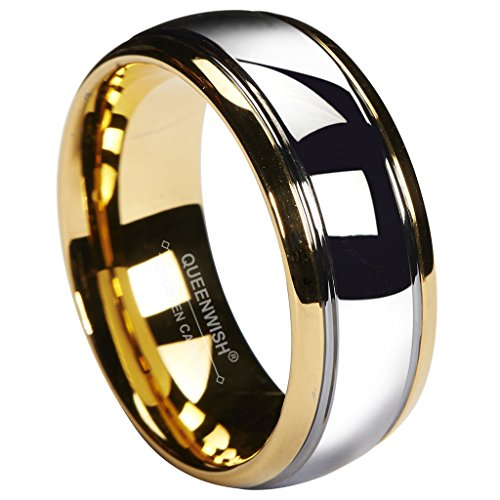 Queenwish 8mm Tungsten Carbide Wedding Band Gold Silver Dome Gunmetal Bridal Ring Men Jewelry Size 7.5 ()