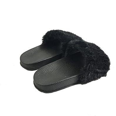 18b68d7185dfa Sandals Slippers Fashion Female Faux Fur Soft Flat Slipper Women Open Toe  Rubber Soles Flip Flop
