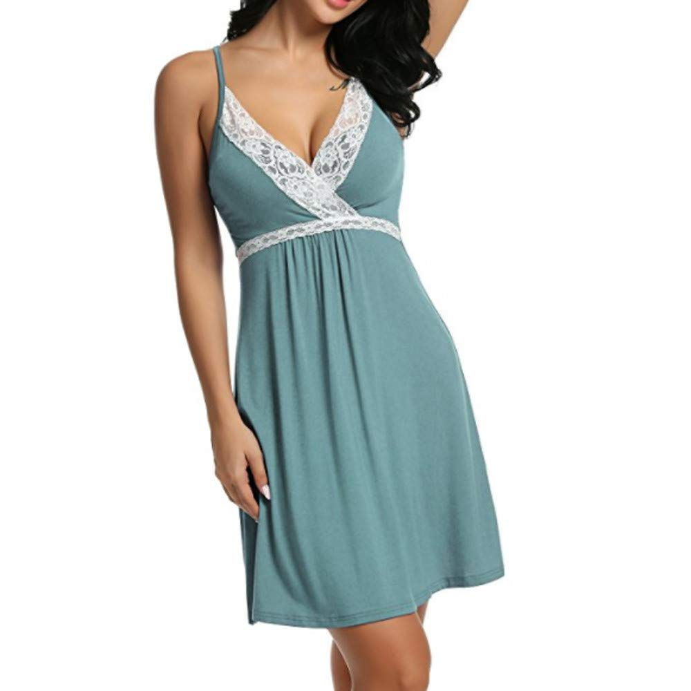 Anewoneson Women's Sexy Lingerie Lace Nightdress Baby Pajamas Set Transparent Mini Teddy Dress (Small, Mint Green)