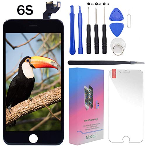 "For iPhone 6s Screen Replacement Lcd Black - 4.7"" Display with 3D Touch [Front Camera] [Proximity sensor] [Ear Speaker] [Repair Tools] Full Assembly Digitizer Glass Kit for iPhone 6s (Black)"