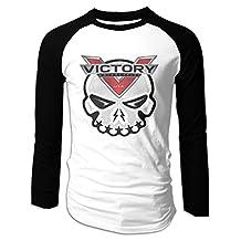 Men's Victory Motorcycles Skull Logo Long Sleeve Raglan Baseball T Shirts
