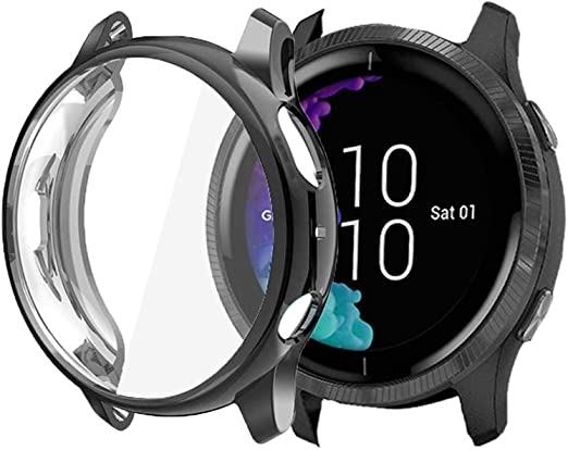 Compatible for Garmin Venu Case Blueshaw All-Around Protective TPU Bumper Cover Screen Protector Case Cover Compatible for Garmin Venu GPS Smartwatch Transparent